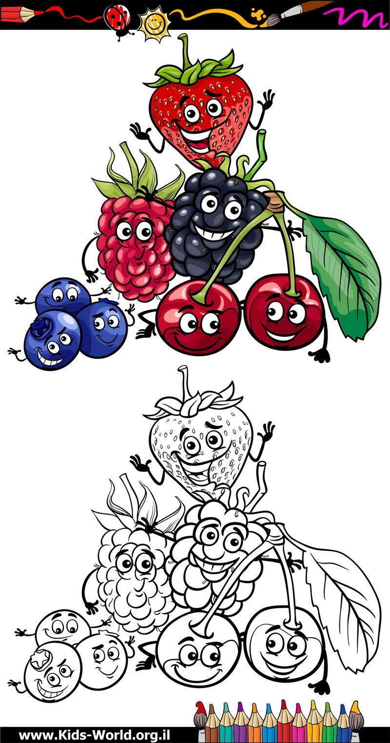 פירות להדפסה וצביעה