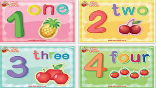 לימוד אנגלית לילדים: מספרים על רקע צבעוני